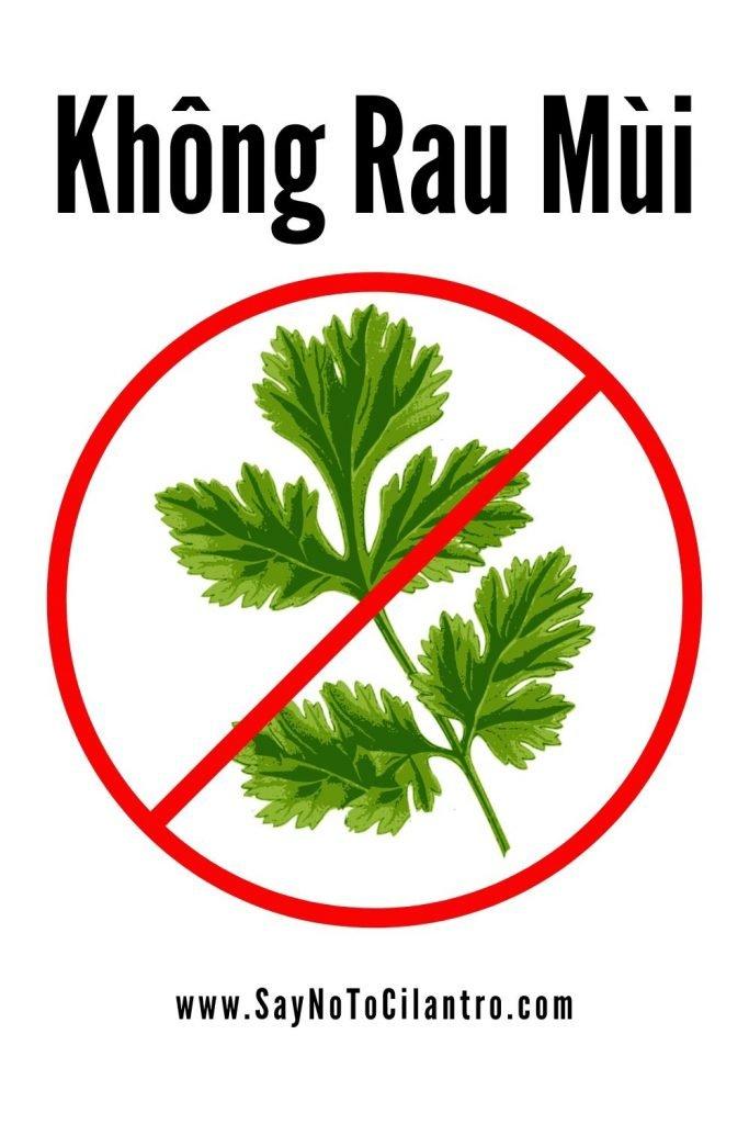 """How to say """"No Cilantro"""" in Vietnamese [Vietnam]"""